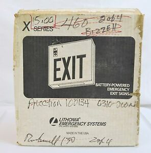 Vintage Lithonia Battery Powered Emergency Exit Sign Green Light Xp3wg El