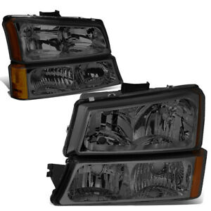 For 2003 2006 Chevy Silverado Smoked Housing Amber Corner Headlight Bumper Lamps