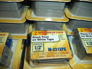 2 Pack Brother M231 P touch Label Tape Ptouch Original Nib 1 2 M 231 M 2312pk