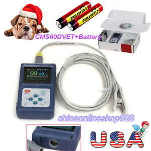 Handheld Veterinary Pulse Oximeter With Tongue Spo2 Probe battery Us Seller Fda
