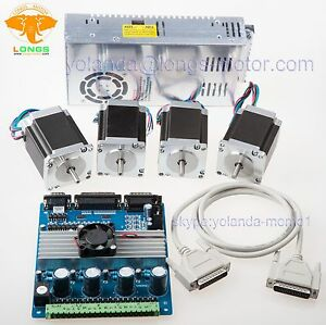 4axis Nema 23 Stepper Motor Kit 287oz in 4axis Driver Board Power 200w 24v Cnc