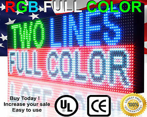 Full Color Led Sign Program Digital Scroll Board 13 x76 Open Close Sign