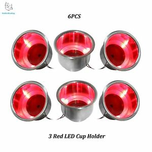 6pcs 3 Red Led Light Stainless Steel Recessed Boat Rv Cup Drink Holder Free Ship