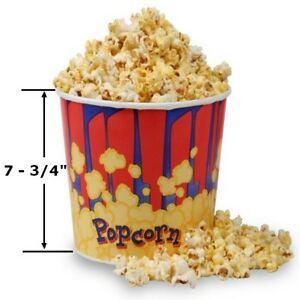 Case Of 50 Large Popcorn Tubs 130 Oz Bucket Cup Gold Medal Free Shipping