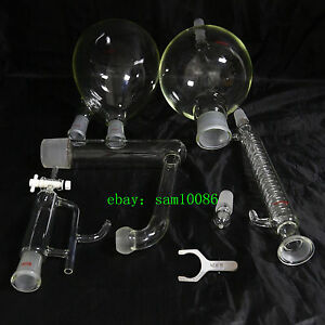 Essential Oil Steam Distillation Kit graham Condenser all Glassware s35 Clip lab