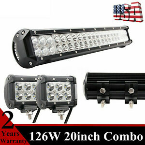 20 inch 126w Led Light Bar 2x4 18w Cube Combo Offroad Tractor Gmc Atv Suv Ford