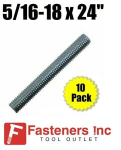 5 16 18 X 24 2ft Zinc Plated Low Carbon Steel Fully Threaded Rod 10 Pack