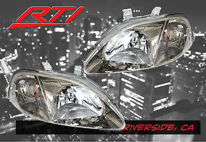 For 99 00 Honda Civic Ek Em Jdm Gun Metal Headlight Amber Reflector Si Ex Sir