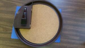 Carlisle 14 Brown Round Cork Bar Tray With Money Maid Caddy Attached