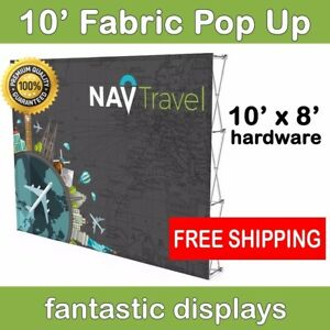 10ft Collapsible Pop Up Display Frame For Tension Fabric Backdrop Prints