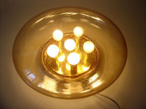 Xl Mid Century Modern Glash Tte Limburg Amber Colored Wall Ceiling Lamp Light