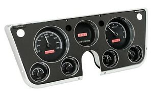 67 72 Chevy Truck C10 Dakota Digital Black Alloy Red Vhx Analog Gauge Kit