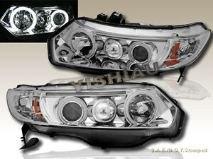 Fit For 2006 2007 2008 Honda Civic Coupe Dual Ccfl Halo Projector Headlights