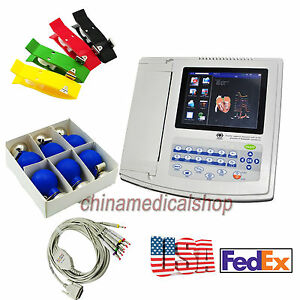 Us Seller 12 Channel Ecg Ekg Machine Touch Screen Electrocardiograph Printer Fda