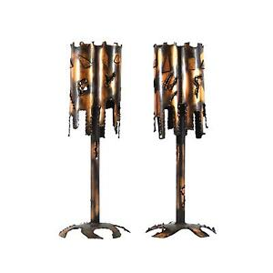 2 Mid Century Modern Brutalist Torch Cut Metal Copper Table Lamps By Tom Greene