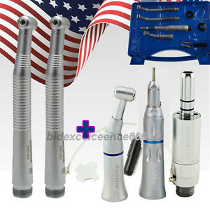 Us Ship dental Handpiece 2 Hole Kit Set 2 High Speed 1 Low Speed Contra Angle