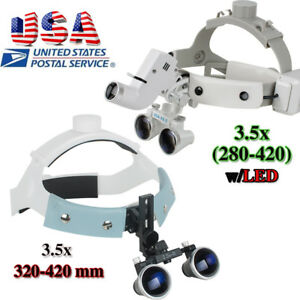 3 5xr 420mm Headband Dental Binocular Loupes Optics Glass Magnifier Led Optional