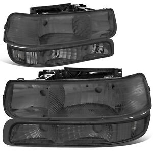 For 1999 2002 Chevy Silverado Smoked Housing Clear Corner Headlight Bumper Lamps