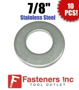 qty 10 7 8 Stainless Steel Flat Washers 18 8 Stainless 2 Od 105 Thick