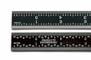 Usa Pec 24 16r 1 50 1 100 1 32 1 64 Rigid Black Chrome Machinist Ruler Scale