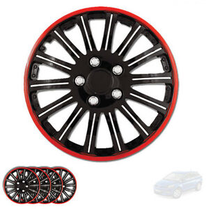 New 15 Inch Black W Red Rim Wheel Hubcaps Cover Lug Skin Set For Mazda 527
