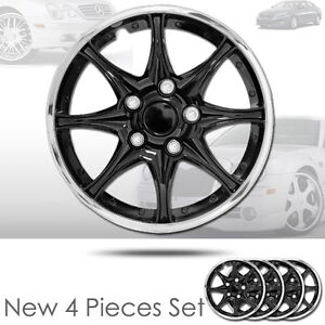 New 15 Inch Black Hubcaps Wheel Covers Full Lug Skin Hub Cap Set 522 For Kia