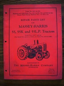 Massey Harris 55 55k 55lp Parts Manual
