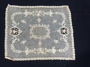 Exquisite Brussels Point De Gaze Lace Wedding Handkerchief Ecru 3d Bees Cutwork