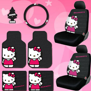 New Hello Kitty Car Seat Steering Cover Floor Mats Set