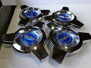 New Ford Crest 1965 1966 Mustang Wire Wheel Hub Cap Spinner Made In Usa Set Of 4