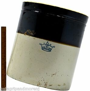 Antique Stoneware Sauerkraut Crock Big 6 Gallon German Blue Decorated Crown Logo