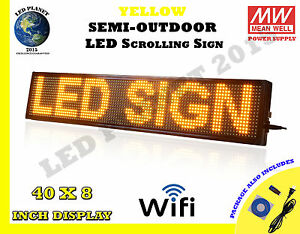 Yellow 40 x8 Semi Outdoor Led Scrolling Programmable Sign Usb Wifi Mobile App