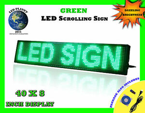 Green 40 x8 Semi Outdoor Indoor Wifi App Led Scrolling Programmable Sign