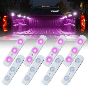 8 Pc Xprite Purple Led Off Road Rock Light Pods Truck Bed Lighting Kit W Switch