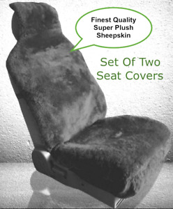 Sheepskin Seat Covers Seat Wraps Two Plush Top Quality Australian Charcoal