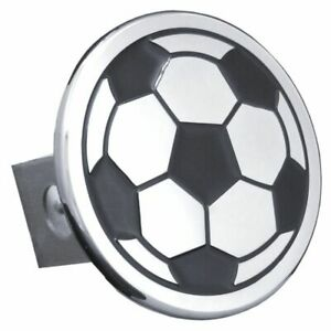 Soccer Ball Black And Chrome Stainless Steel 1 25 Trailer Tow Hitch Cover