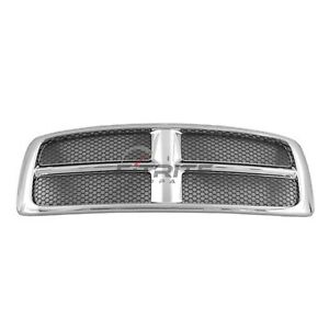 Front Grilles Chrome Frame Ch1200268 For 2002 2005 Dodge Ram 1500