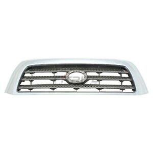 Grille Silver Gray With Chrome Frame For 2007 2009 Toyota Tundra To1200303