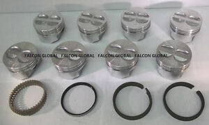 Chevy 350 5 7 Sealed Power federal Mogul Cast Flat Top Pistons moly Rings 20