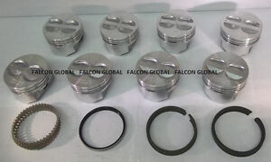 Chevy 350 5 7 Sealed Power federal Mogul Cast Flat Top Pistons moly Rings 80