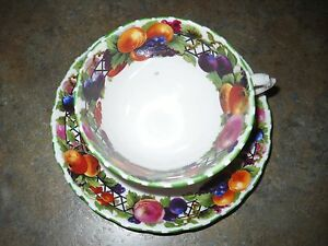 Vintage Unique Tuscan Fine Bone China Cup And Matching Saucer Fruit