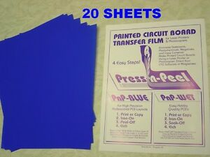 Press n peel Blue Pcb Transfer Paper Film Etch Circuit Boards Jewelry 20 Sheets