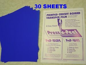Press n peel Blue Pcb Transfer Paper Film Etch Circuit Boards Jewelry 30 Sheets