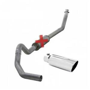 Diamond Eye 4 Turbo back Exhaust No Muff W Tip For Dodge Cummins 5 9l 94 02