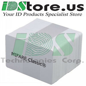 200 Mifare Classic 1k Blank White Pvc Cards Cr80 30 Mil gq Credit Card Size