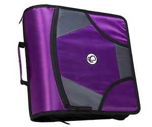 New Case it Xl 3 Ring D ring 4 Inch Zipper Binder With 5 tab File Folder Purple