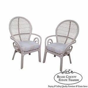 Surfside Casual Vintage White Painted Rattan Pair Of Fan Back Arm Chairs