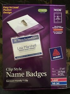 Avery Clip Style Name Badges 3 X 4 50 bx 74536