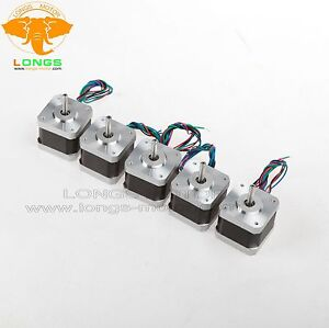 Stepper Motor 5pcs Nema17 12v 34mm 4leads 0 4a 1 8 17hs3404n Cnc 3d Printer