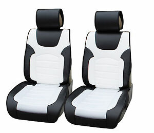 2 Car Seat Covers Pu Leather Cushion Compatible To Mazda 6802 Bk White